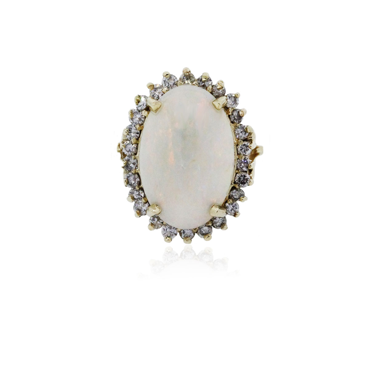 You are viewing this 14k Yellow Gold Diamond Oval Opal Ring!