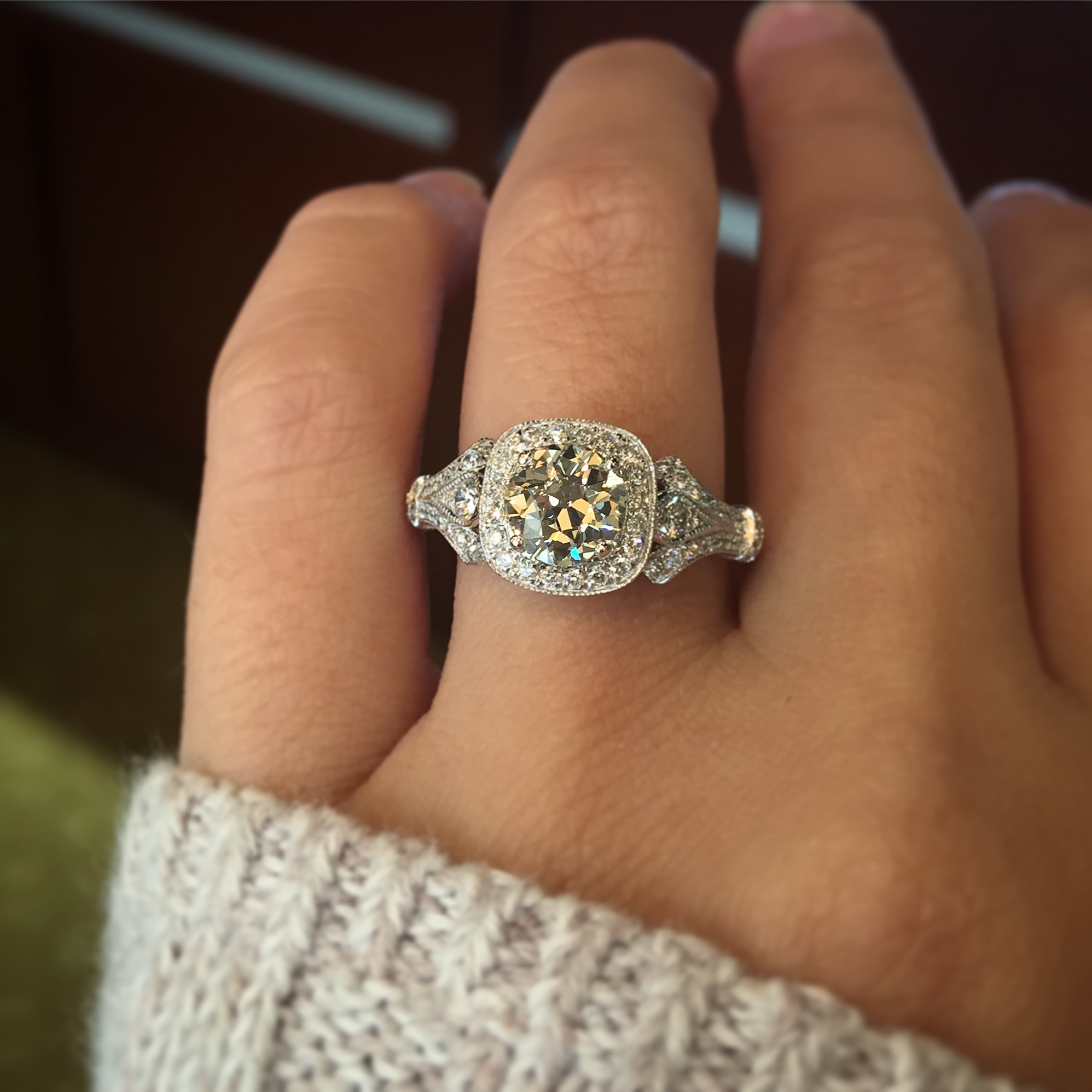Gabriel co engagement rings victorian halo setting 42ctw for Wedding ring companies