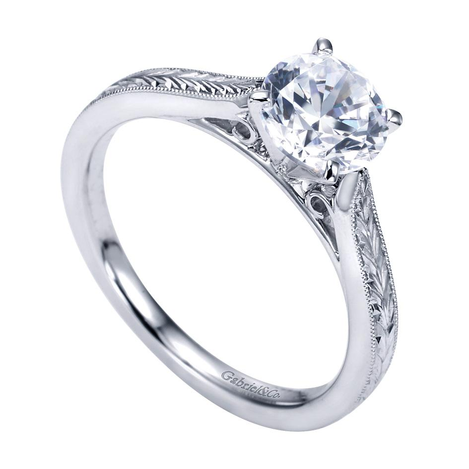 Gabriel & Co Engagement Rings Impeccable Solitaire 14 White Gold
