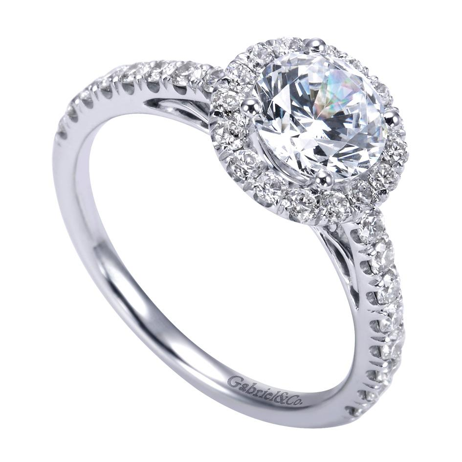 Gabriel Amp Co Engagement Rings Round Halo 56ctw Diamonds