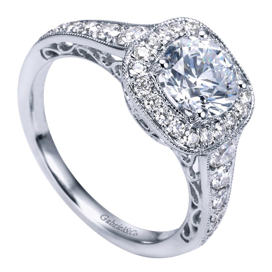 Gabriel & Co Engagement Rings Victorian Halo 60ctw Diamonds