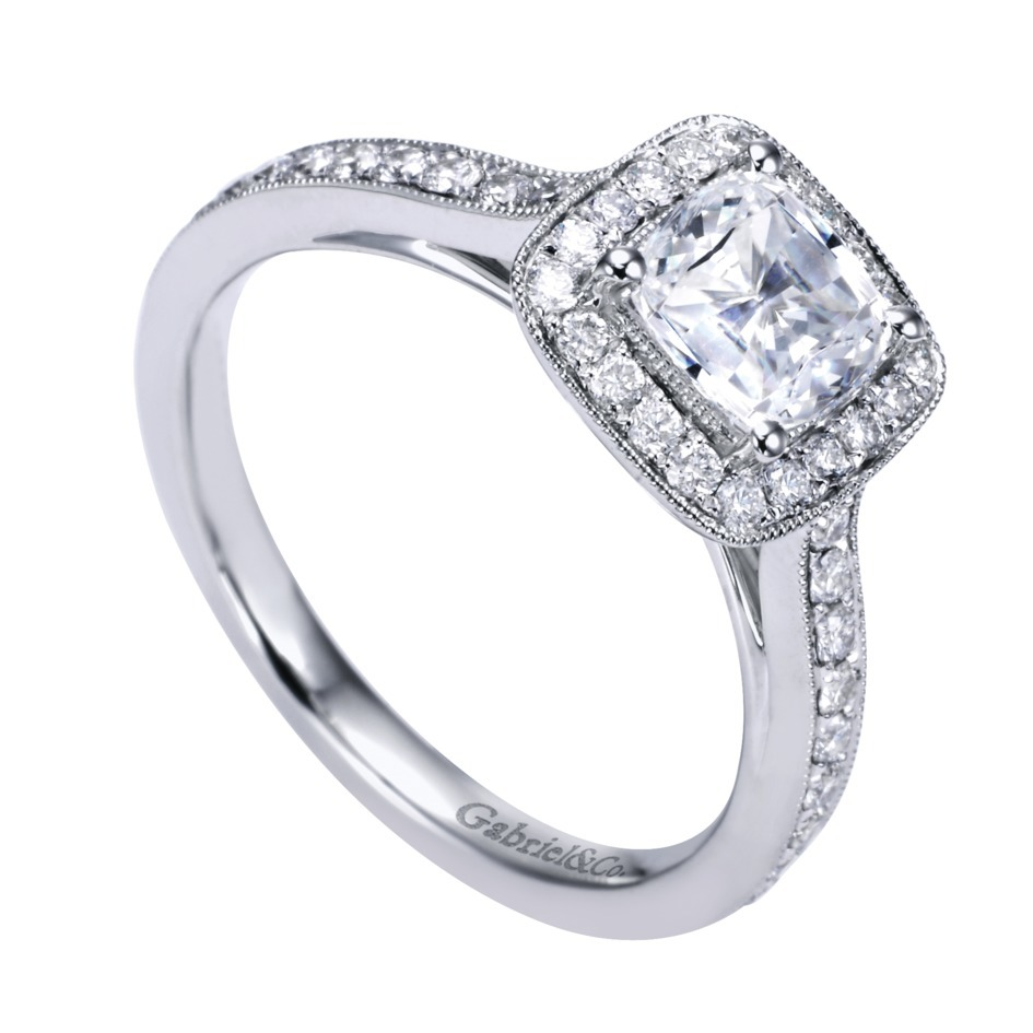 Gabriel & Co Engagement Rings Square Victorian Halo 43ctw