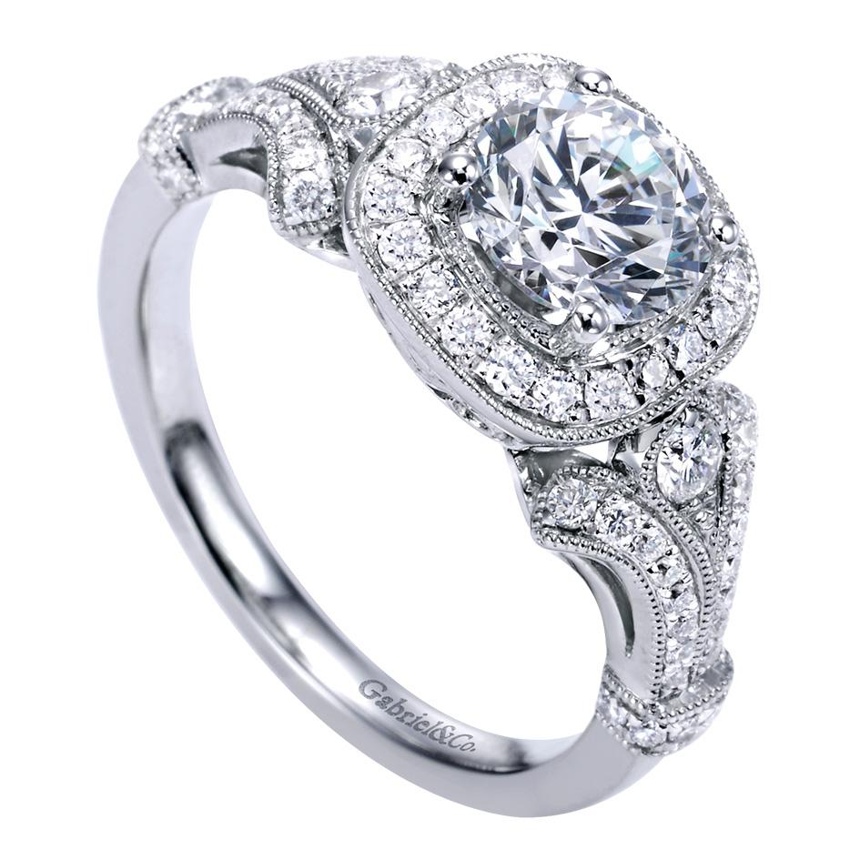 Gabriel & Co. Engagement Rings Victorian Halo Setting .42ctw