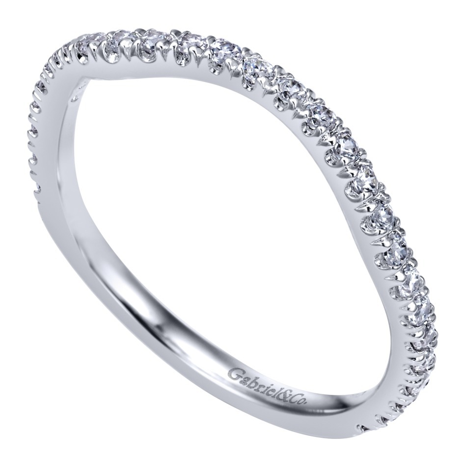 Curved Wedding Bands: Gabriel NY 14k White Gold Diamond Curved Wedding Band