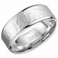 Crown Ring WB 9968 M10 Hammered Wedding Band