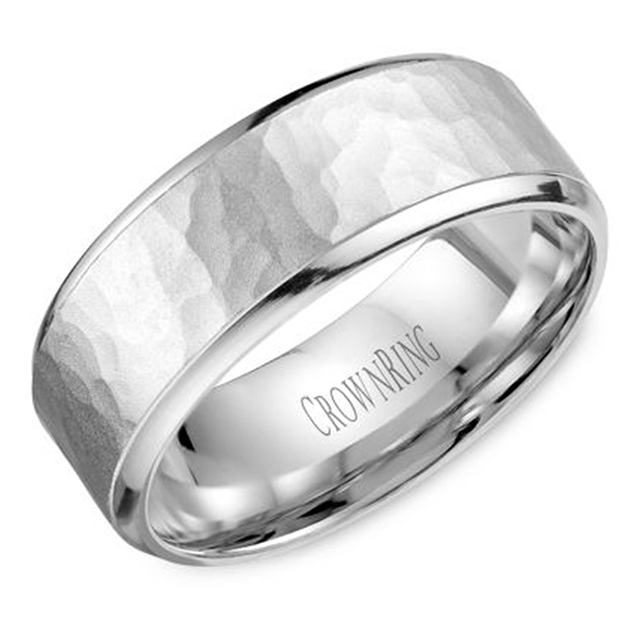 Hammered Wedding Band | Crown Ring Wb 9968 Hammered Wedding Band