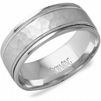 Crown Ring LB 2038 M10 Hammered Milgrain Wedding Band