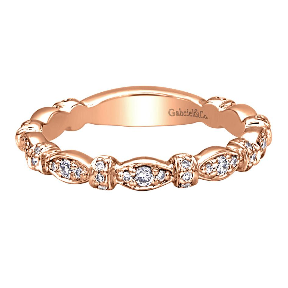 Gabriel & Co Engagement Rings 28ctw 14k Pink Gold Diamond Band