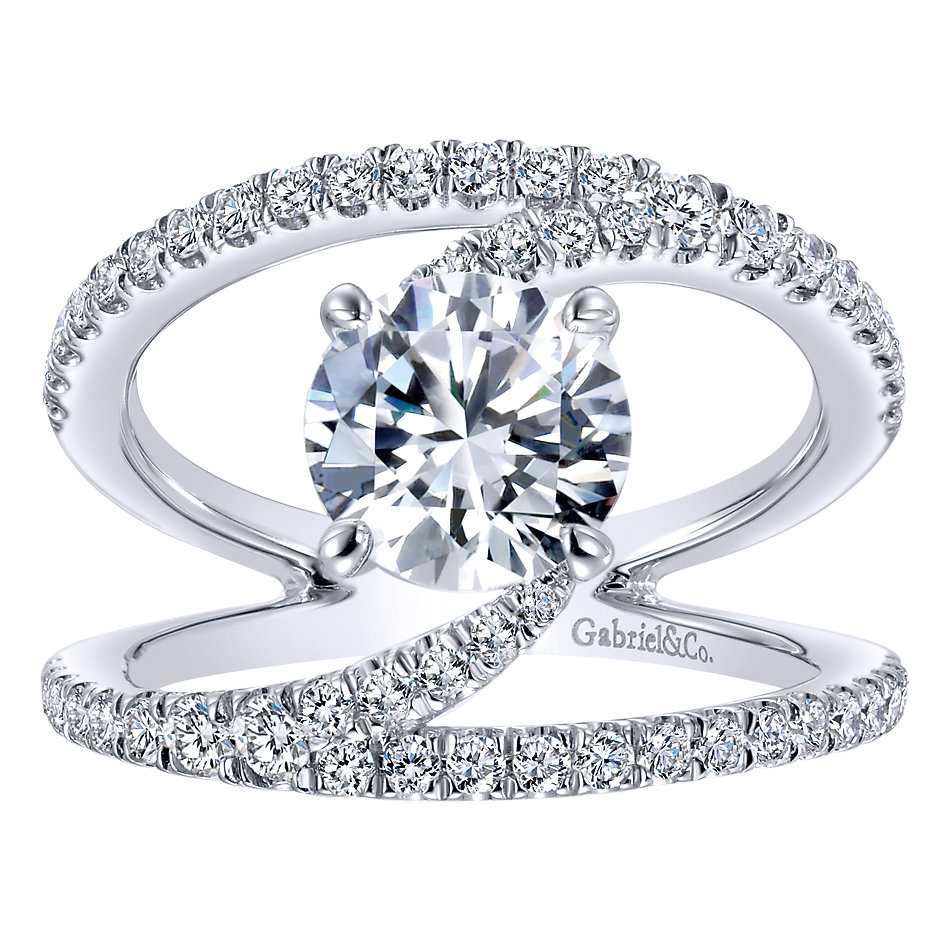 Gabriel & Co Engagement Rings 14k White Gold Diamond Split Shank