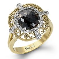 Simon G MR2427 18k Two Tone Rose Cut Diamond Ring