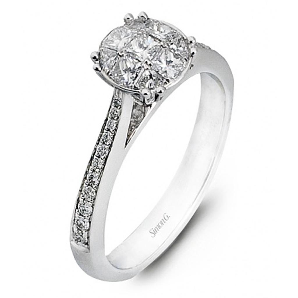 Simon G Engagement Rings 18k White Gold Diamond Cluster 43ctw