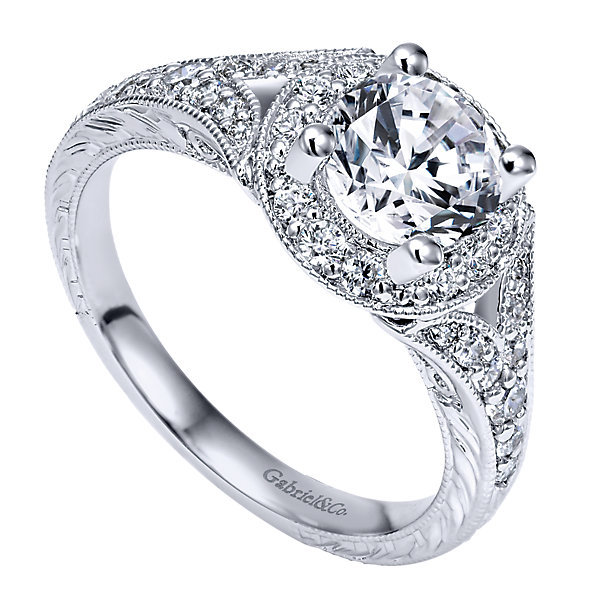 Gabriel & Co Engagement Rings Halo 45ctw Diamonds Split Shank