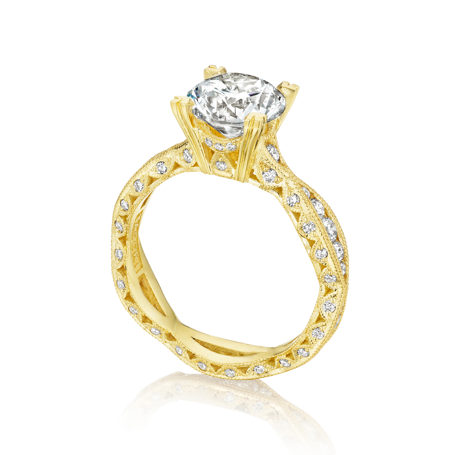 Tacori engagement rings gold diamond twist setting for Wedding rings tacori