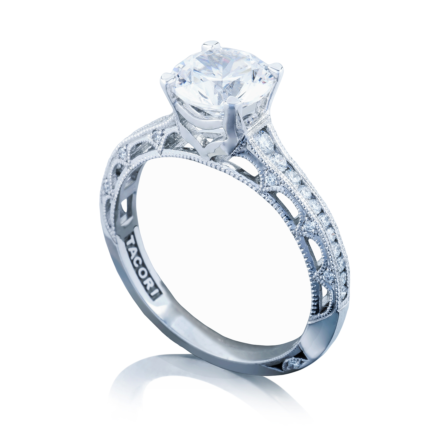 Tacori engagement rings crescent solitaire setting 026ctw for Wedding rings tacori