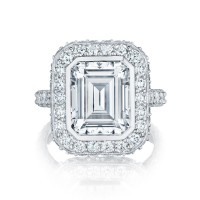 Tacori RoyalT HT2614 Emerald Cut Diamond Halo Engagement Ring Setting