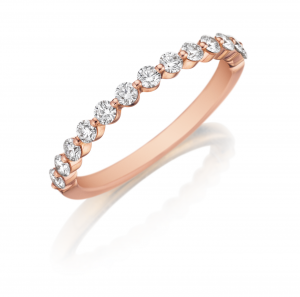 henri daussi wedding bands in rose gold with diamonds