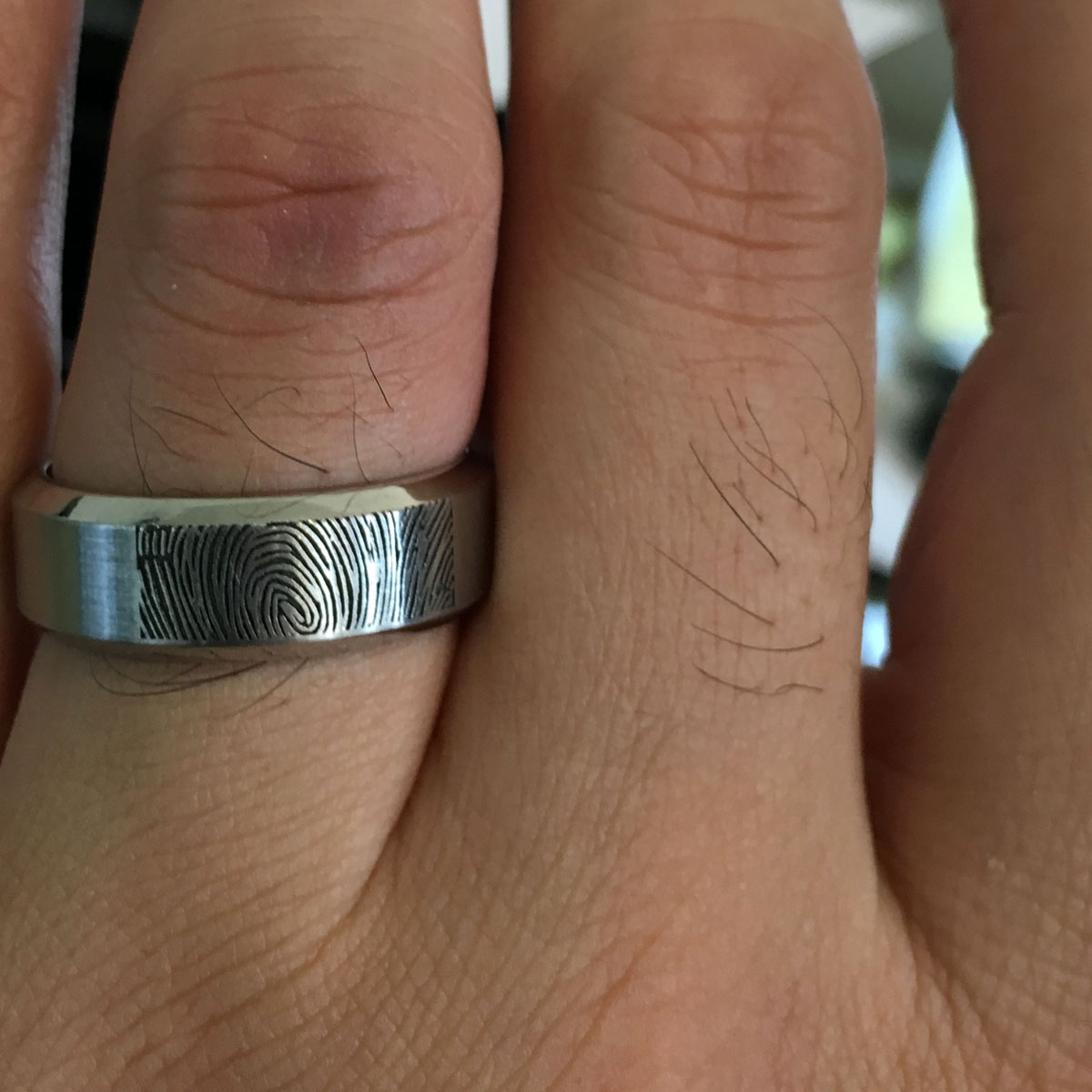 lashbrook beveled edges and fingerprint wedding band fingerprint wedding band Lashbrook Beveled Edges and Fingerprint Wedding Band