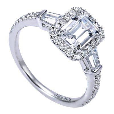 Diamond Accents around a Halo White Gold Diamond