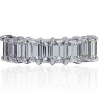 Platinum 9.78ctw Emerald Cut Diamond Eternity Band