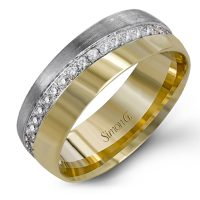 Simon G LL123 Two Tone Diamond Wedding Band