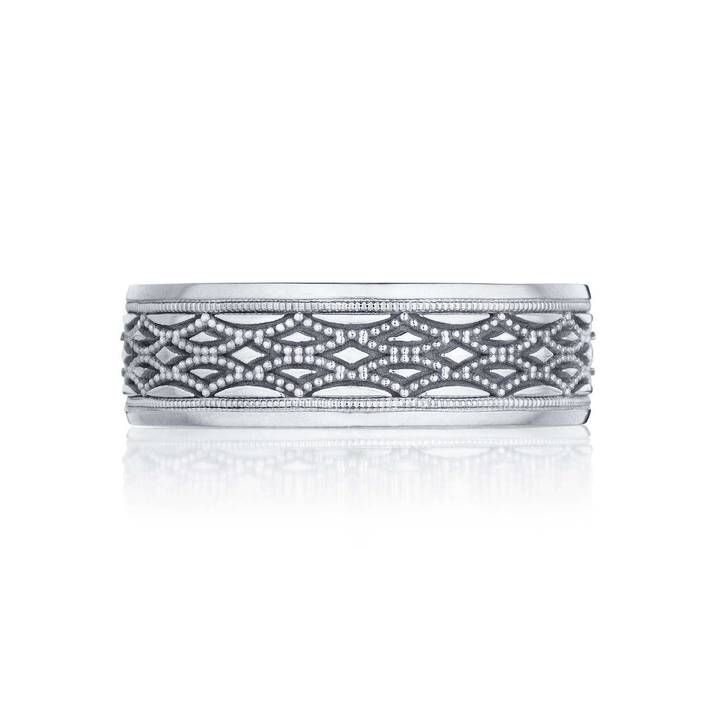 Tacori wedding bands sculpted crescent mens milgrain for Tacori mens wedding rings