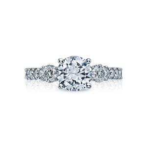 tacori clean crescent three stone engagement ring