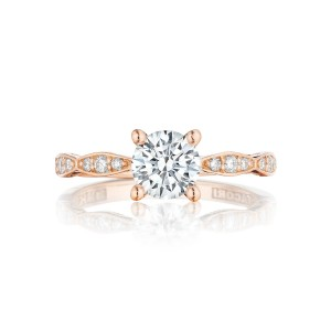 TACORI pretty in pink rose gold vintage look engagement ring