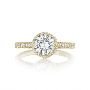 Tacori Gold Floral Halo Engagement Ring in yellow gold