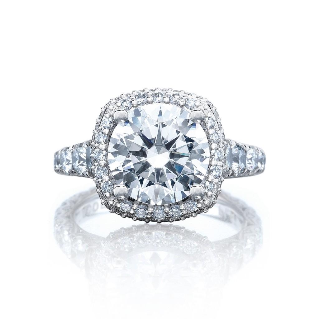 Tacori engagement rings royalt halo setting 185ctw for Wedding ring tacori