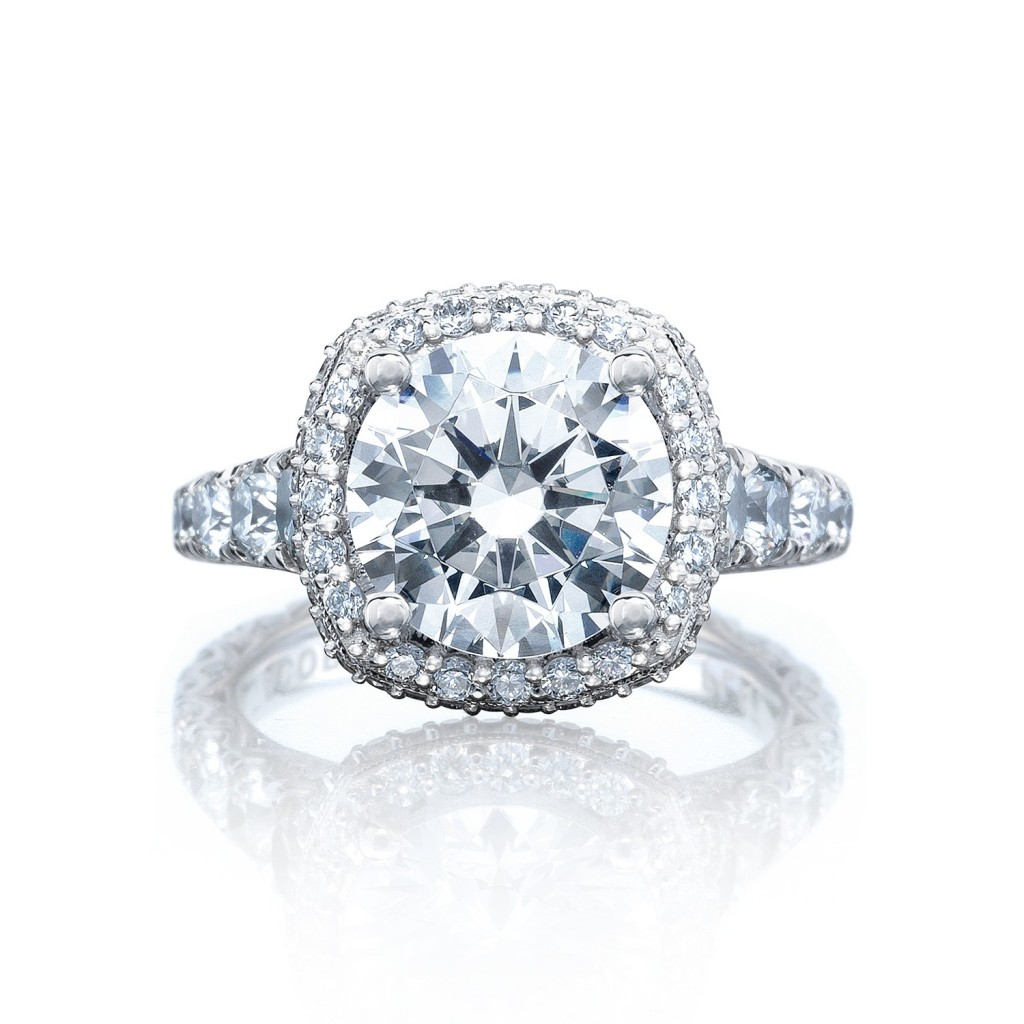 Tacori engagement rings royalt cushion halo setting for Wedding rings tacori