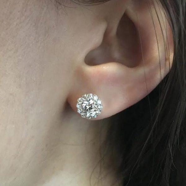 Tacori Bloom Fe803 Round Diamond Stud Earrings