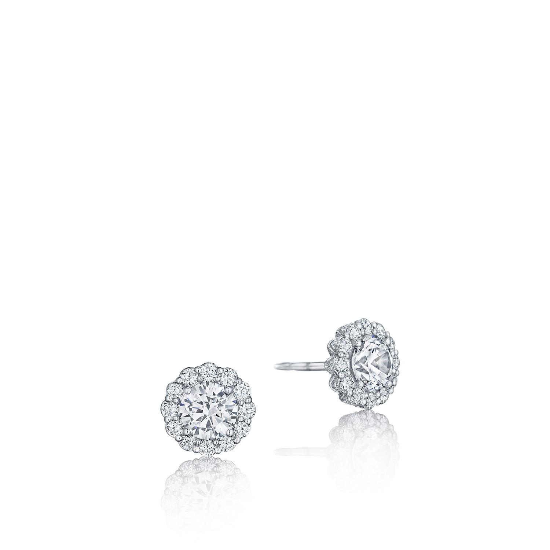 Tacori Encore Fe803 Round Diamond Bloom Stud Earrings