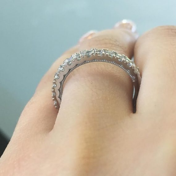 Asscher cut diamond eternity wedding band