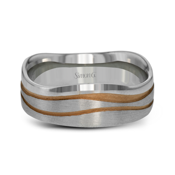 Simon G Engagement Rings Two Tone Mens Band Rose Gold Carvings