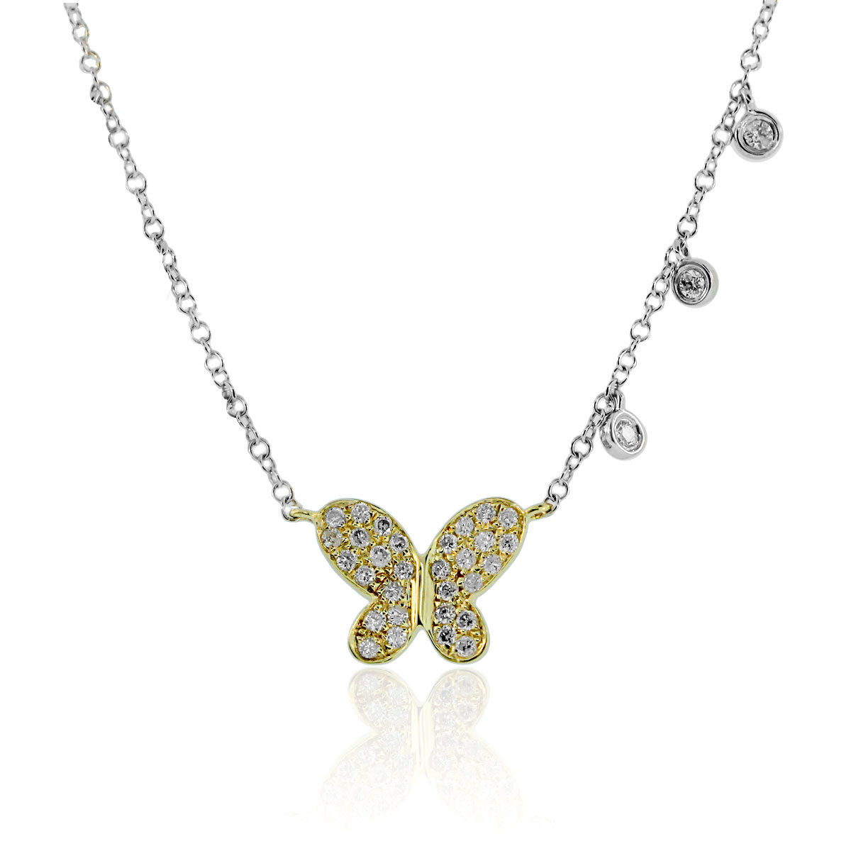 Meira T 14k Two Tone Gold Butterfly 0 26ctw Diamond Necklace