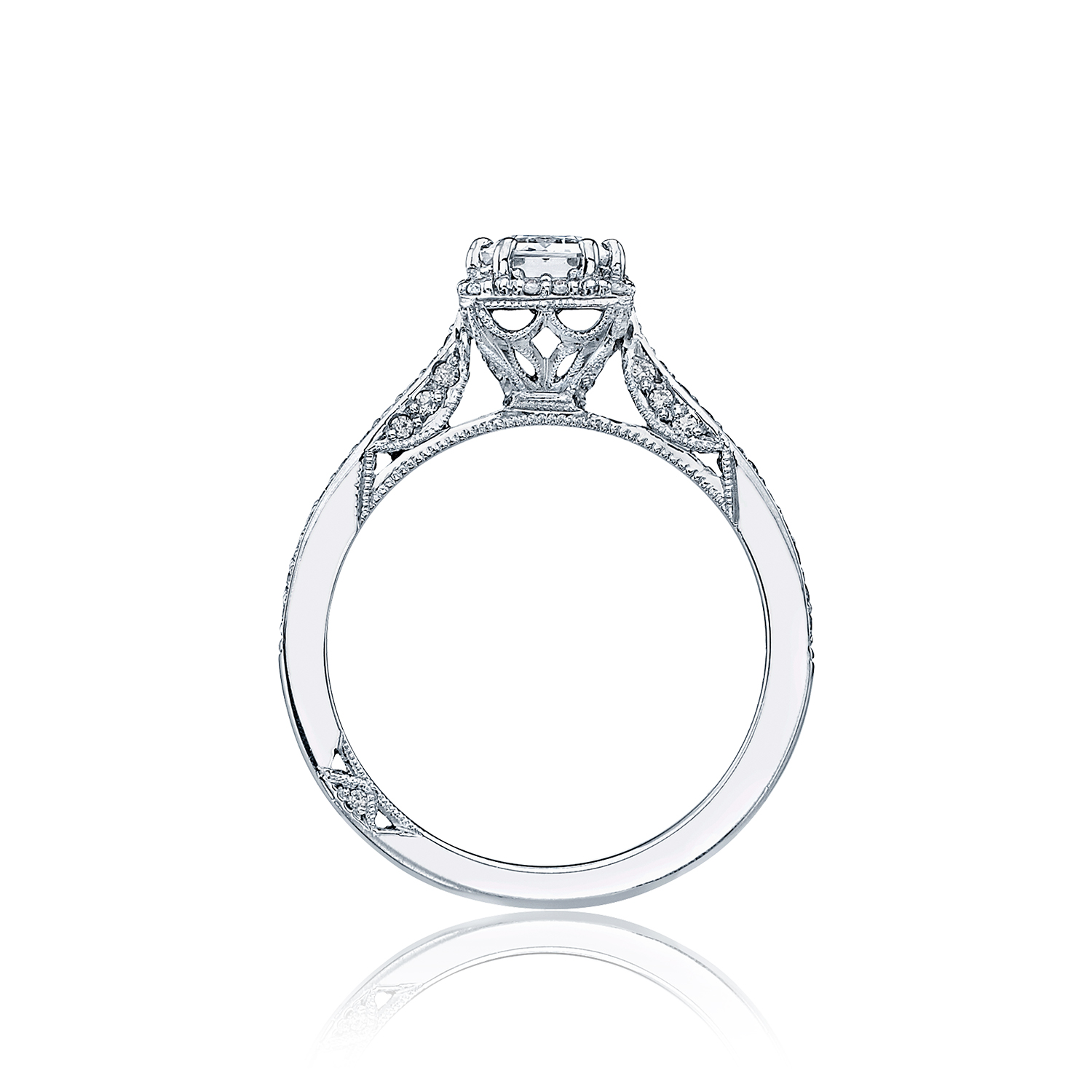 Tacori engagement rings dantela emerald cut setting for Wedding rings tacori