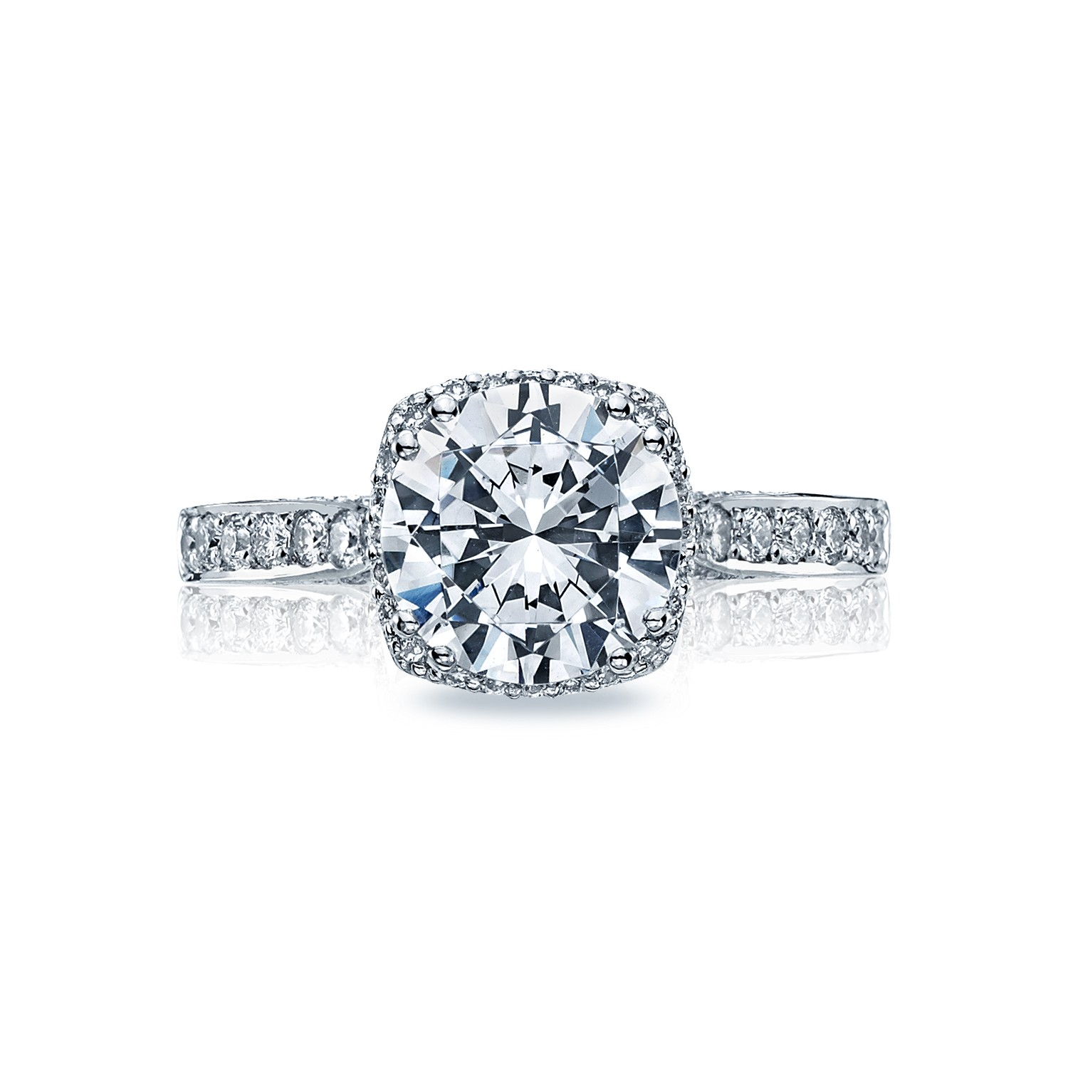 Tacori engagement rings dantela diamond halo 18k white for Wedding rings tacori
