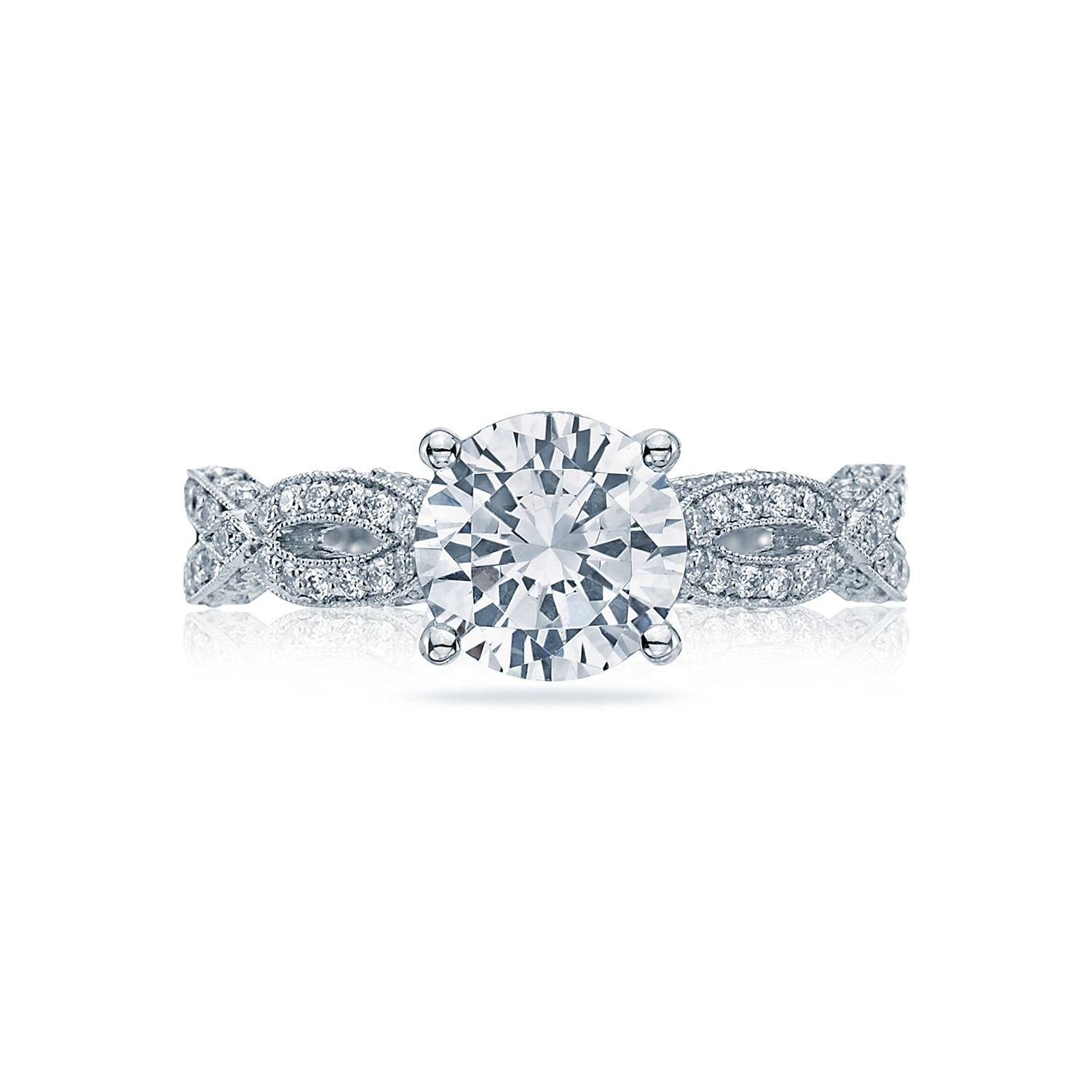 Tacori engagement rings ribbon solitaire 036ctw for Wedding ring tacori