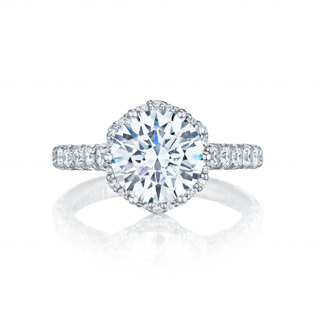 tacori engagement rings petite crescent diamond halo