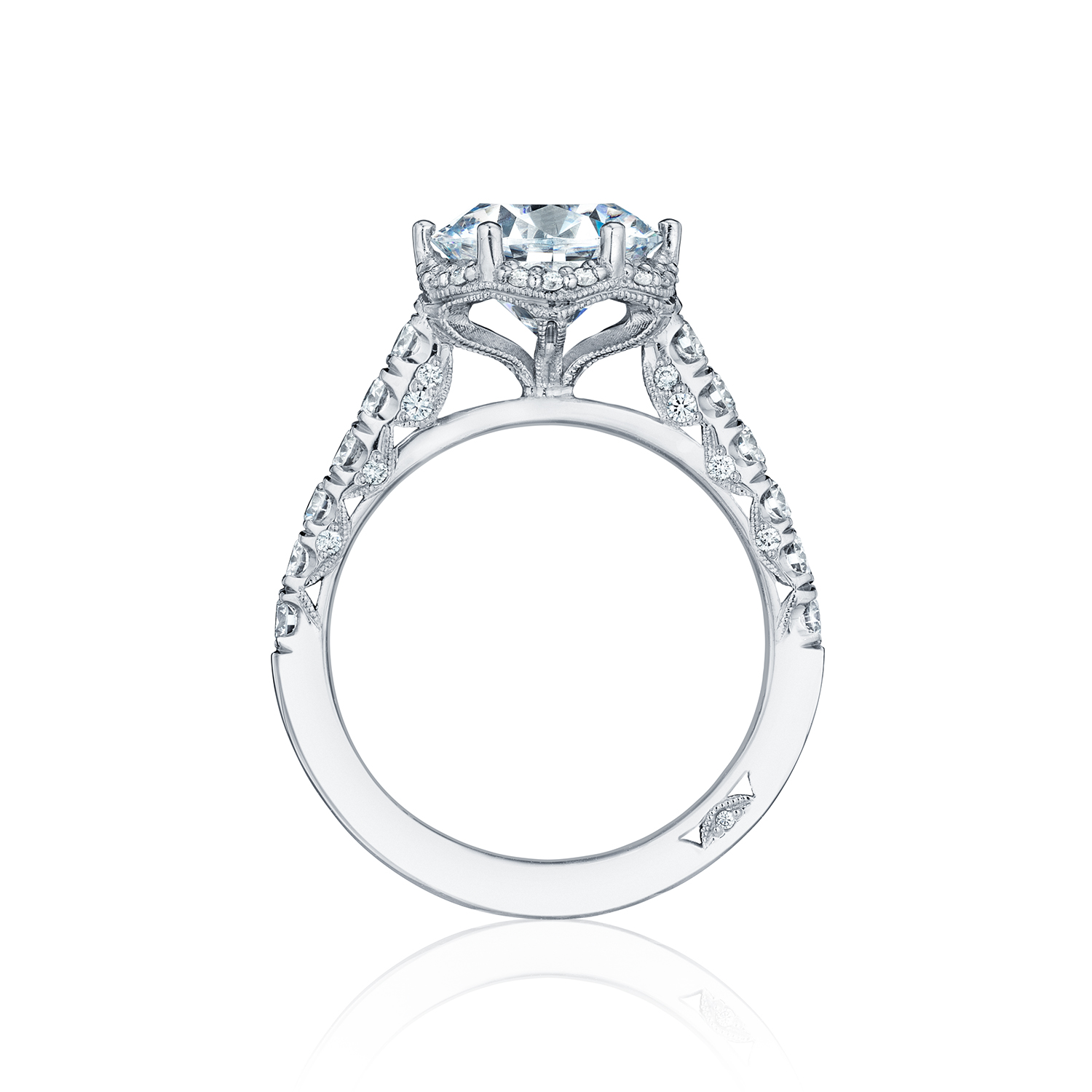 Tacori engagement rings petite crescent diamond halo 061ctw for Wedding rings tacori