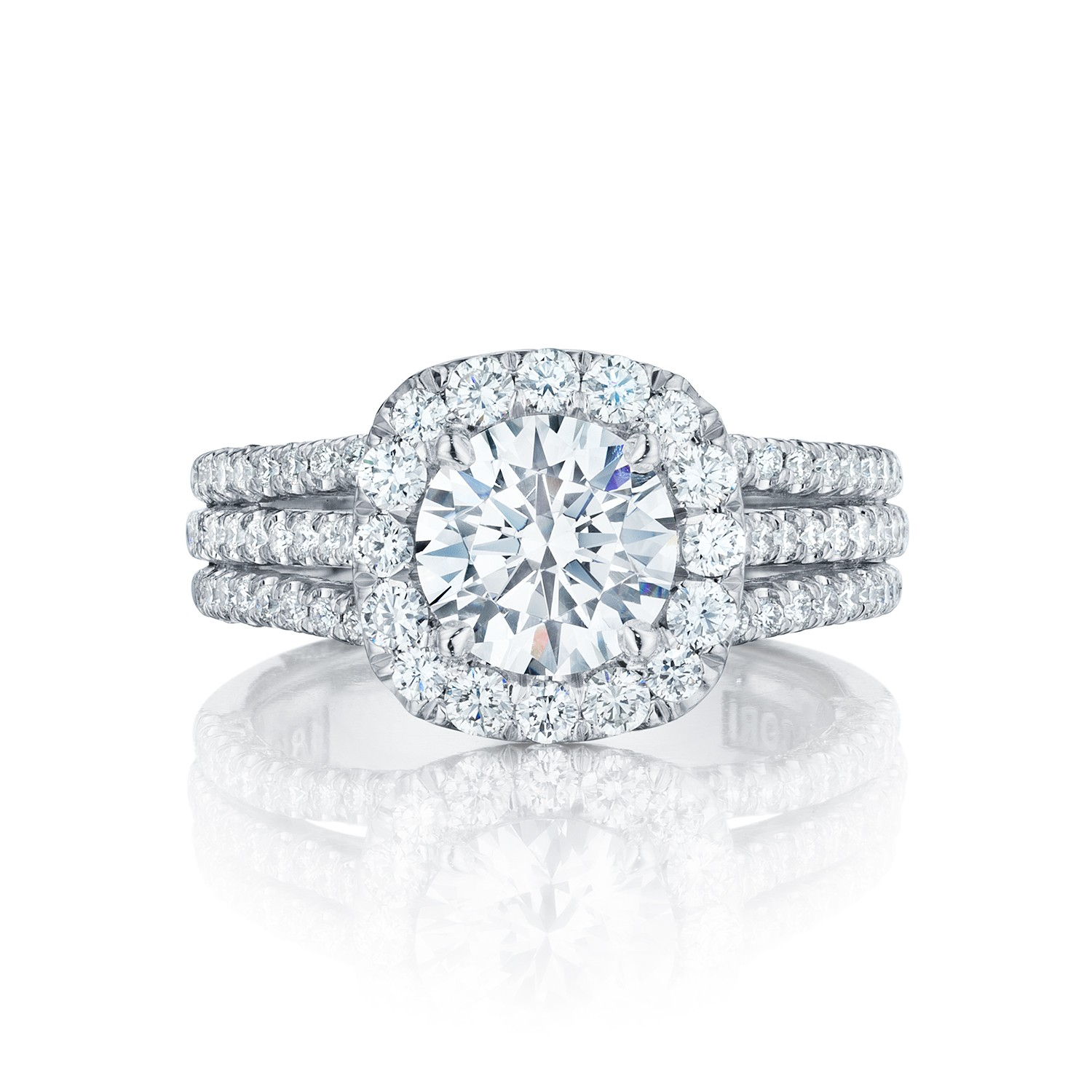 Tacori engagement rings crescent diamond halo for Halo engagement rings with wedding bands