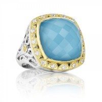 Tacori Island Rains SR101Y05 Turquoise and Diamond Bold Crescent Crown Ring