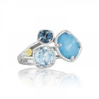 Tacori Island Rains SR137050233 Turquoise and Topaz Budding Brilliance Ring