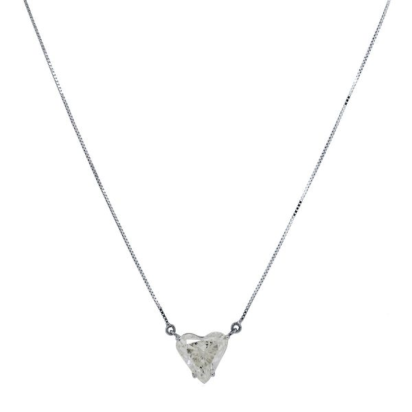 18k White Gold 5.07ct Heart Shape Diamond Necklace