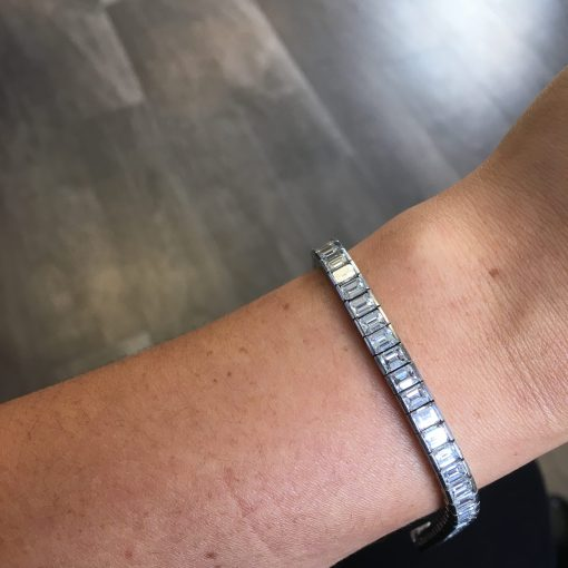 Platinum 13.20ctw Emerald Cut Diamond Tennis Bracelet