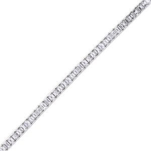 13ct Platinum Emerald Cut Diamond Tennis Bracelet