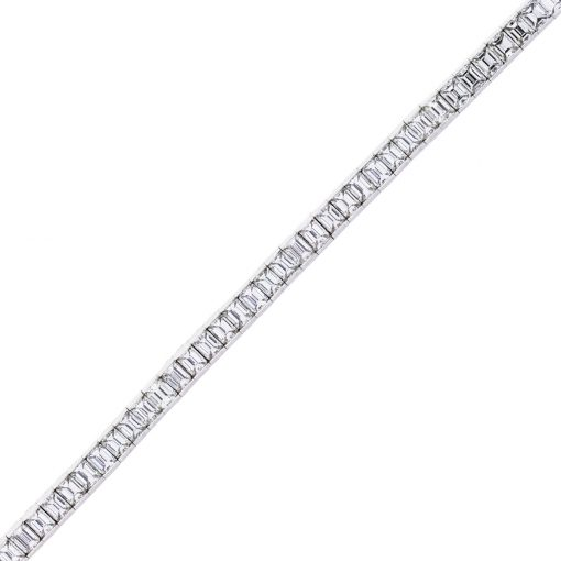 13ct Platinum Emerald Cut Diamond Tennis Bracelet