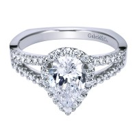 Gabriel & Co. ER11604W44JJ 14k White Gold Diamond Halo Engagement Ring with Center Stone