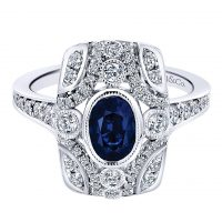 Gabriel & Co. 18k White Gold Diamond and Sapphire Ring