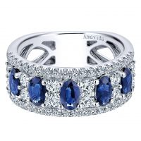 Gabriel & Co. 18k White Gold Diamond and Sapphire Wide Band Ring